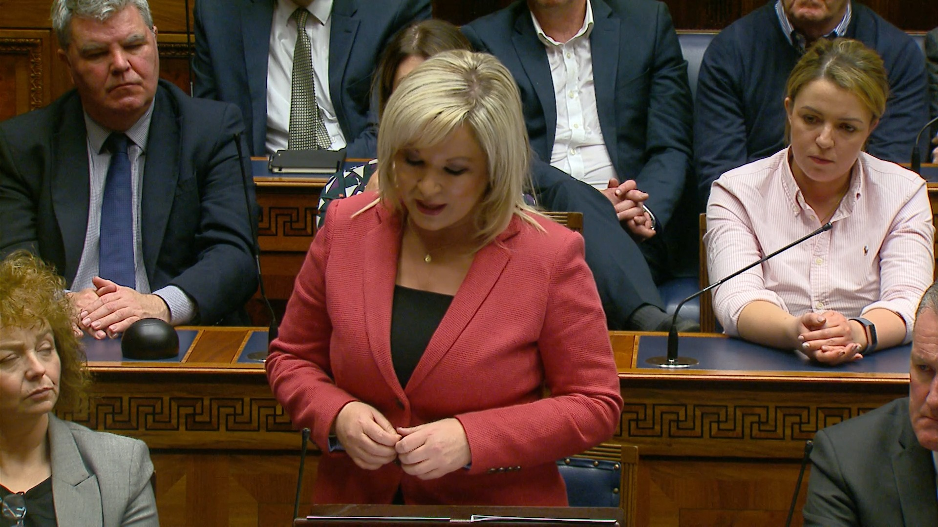 Michelle O'Neill, deputy First Minister, addresses the Assembly.