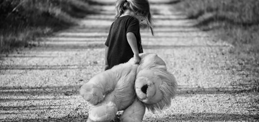 Girl and lion toy