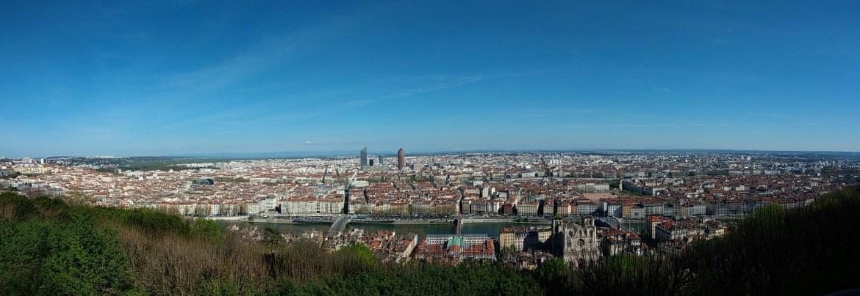Vue de la colline de Fourvière sur Lyon.