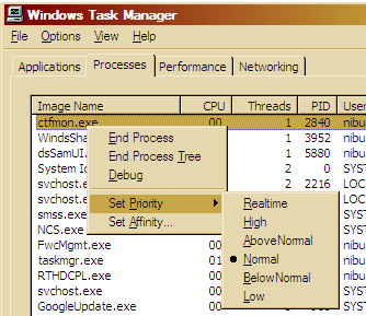 Changing process priority through task manager