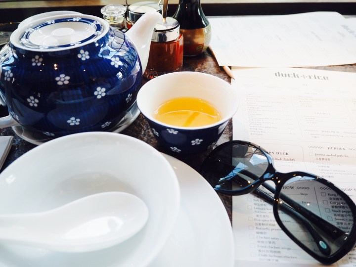 Jasmine tea on a dining table at The Duck and Rice, Soho