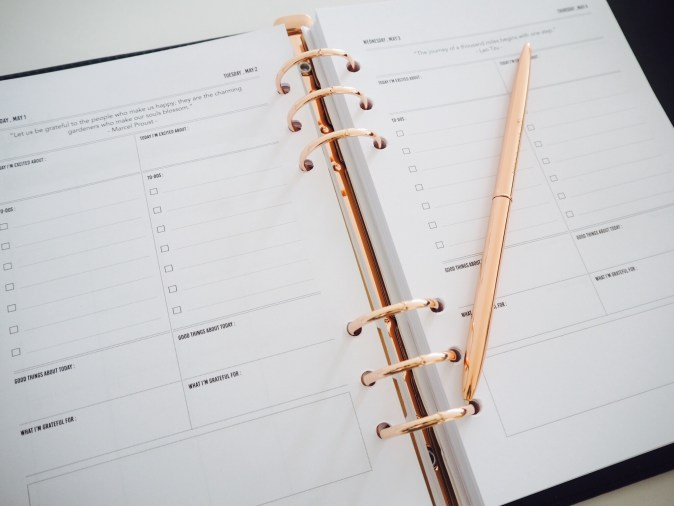 Rose gold and black happiness planner