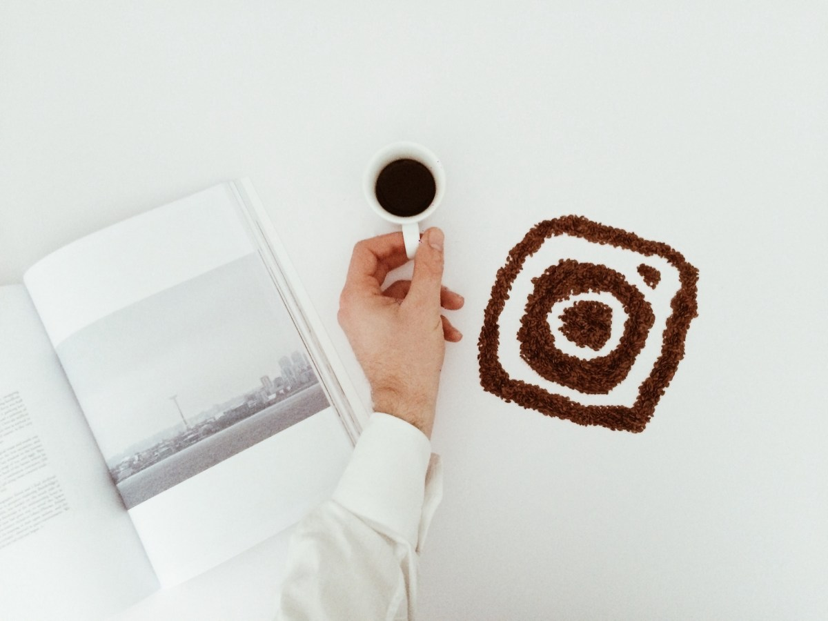 Picture of a magazine, coffee and Instagram icon using coffee