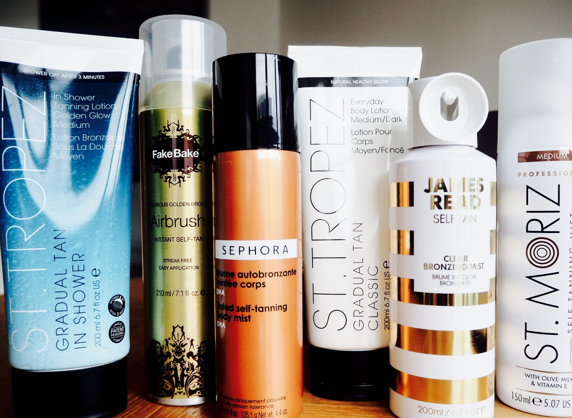 Landscape photo of various fake tan: St Tropez, FakeBake, Sephora, James Read and St Moriz