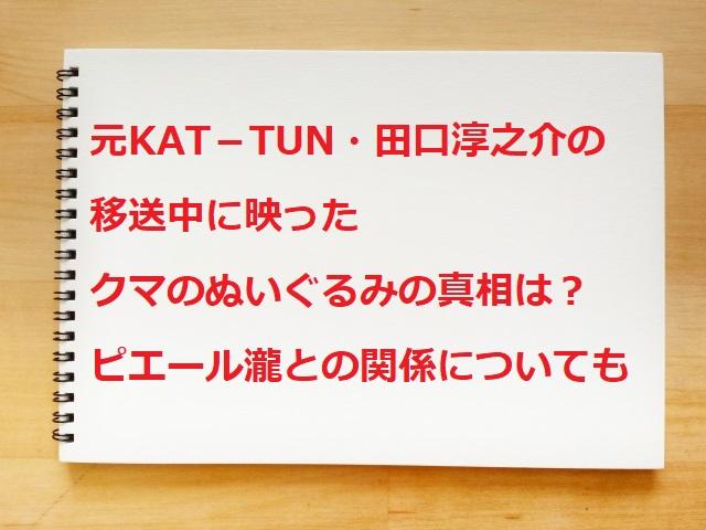 元KAT-TUN・田口淳之介逮捕。くまのぬいぐるみとピエール瀧との関係は?