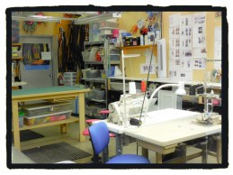 Now we are looking back to the sewing/serger tables and the cutting table.