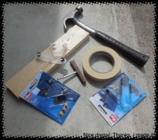 Get your tools ready: cork screw or a nail or even a Brad Awl (if you have one!), hammer, masking tape, wood, scrap denim, Jeans button kit and jeans rivet kit.