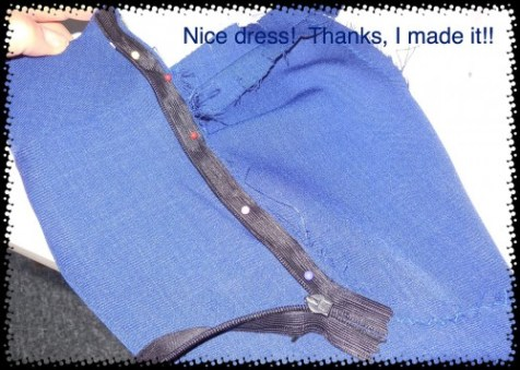 I turned the zipper over and pinned the one side on. I prefer to use Wonder Tape, but sadly I have run out!