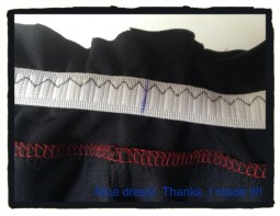 Line up your marks with your front and back and side seams of your pants. You can even baste the elastic on to your waistband at these marks. I just pinned my elastic on. Then I used a stretch stitch and sewed my elastic down onto my waistband all around, gently stretching the elastic to fit the waistband between the marks.