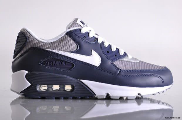 sports shoes 45af3 82b01 Nike Air Max 90 Navy Blue Grey White