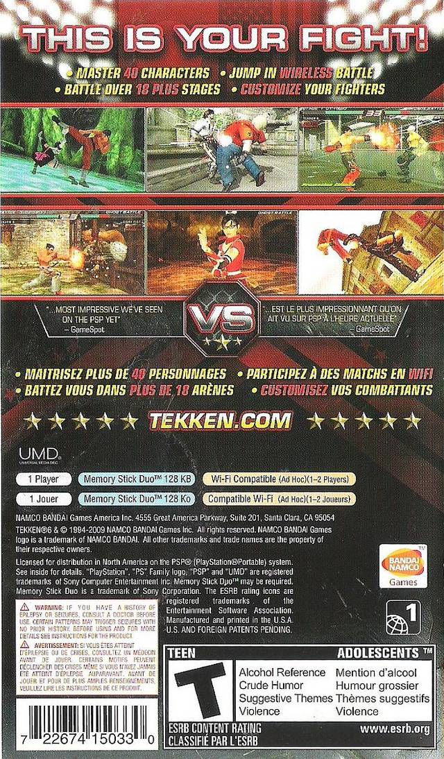 Tekken 6 Usa Psp Iso Nicerom Com Featured Video Game Roms And Isos Game Database For Gba N64 Wii Sega Psx Psp Nes Snes 3ds Gbc And More