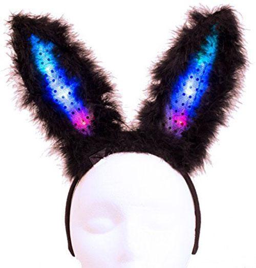 Light Up Flashing Easter Party Bunny Ears Headband