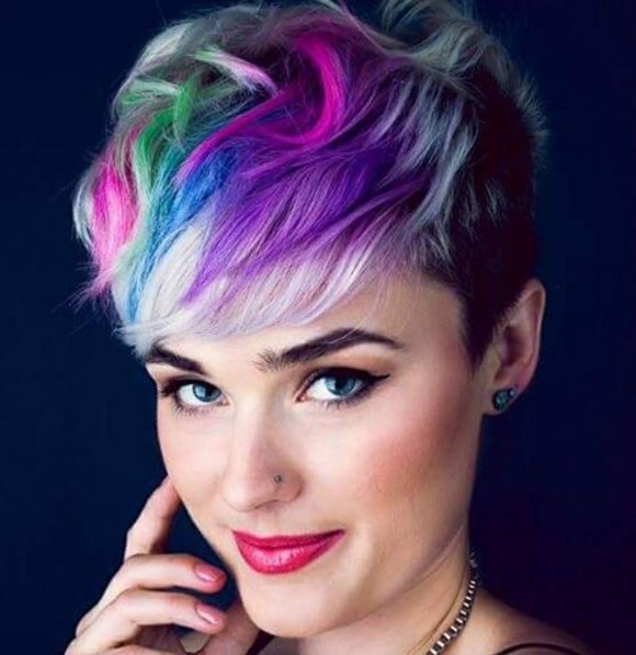 Bright Rainbow Pixie: Pastel Hairstyles for Short Hair