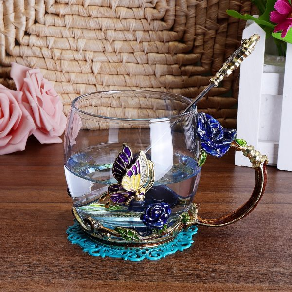 Beauty And Novelty Enamel Coffee Cup Mug Flower Tea Glass Cups for Hot and Cold Drinks Tea Cup Spoon Set Perfect Wedding Gift