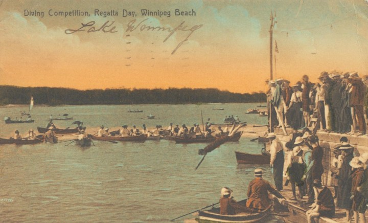 Image of Diving competition, Regatta Day, Winnipeg Beach, 1910.