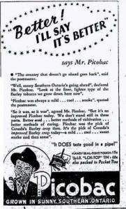 Tobacco ad in The Essex Free Press, 1939