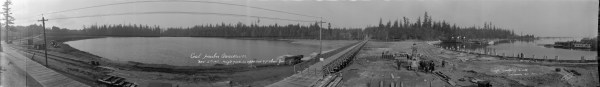 Construction of Coal Harbour causeway, 1917. Source: City of Vancouver Archives, AM54-S4-3-: PAN N54.
