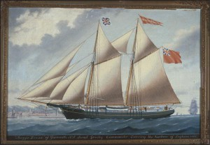 """Anonymous, """"Maggie Louisa"""" of Yarmouth, Israel Goudey, Commander, Entering the harbour of Leghorn (1866), courtesy McCord Museum"""