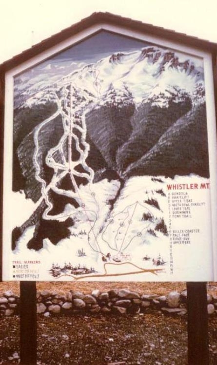 A trail map of the Whistler Mountain from 1966.