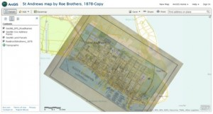 1878 historical map overlay and GeoNB data for St. Andrews NB, ArcGIS.com