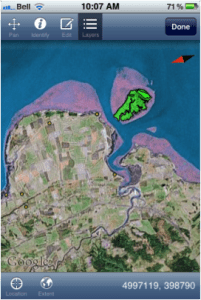 iGIS showing the Grand Pre, GPS points of interest in yellow, and Boot Island cover types in green