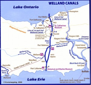 "Location of the Welland canals. Map drawn by David Edwards-May, Euromapping, France. In Pauline Desjardins, ""Navigation and Waterpower: Adaptation and Technology on Canadian Canals,"" IA, The Journal of the Society for Industrial Archeology 29.1 (2003): 69 pars. Used with permission."