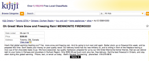 "Kijiji ad for ""Mennonite Firewood"" January 5, 2013"