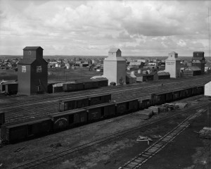 Grain silos along Canadian National Railways (CNR) lines - Hanna, Alberta