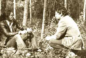 "Judge Thomas Berger talking to Chief Jim Antoine of Fort Simpson in 1975, Trout Lake. Canadian Press. Published in the epilogue to the inquiry's report, appropriately titled ""Themes for the National Interest."""
