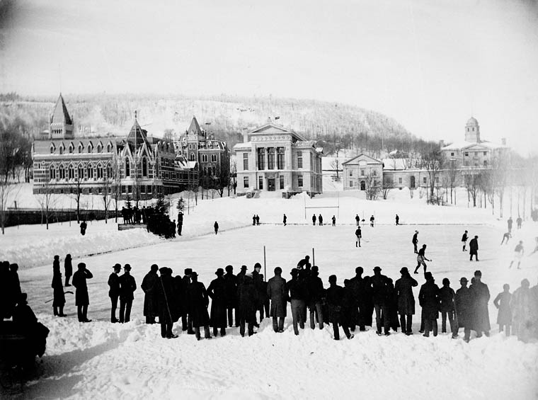 Playing hockey on the skating rink, McGill University. Source: LAC
