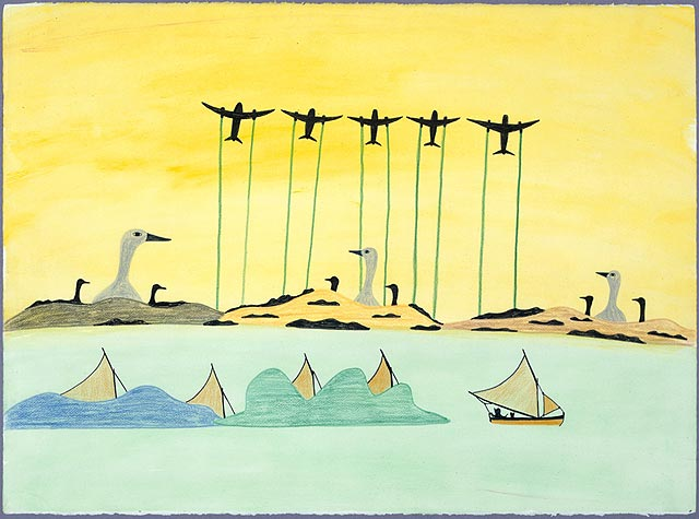 Pudlo Pudlat, Jets, Boats, and Birds in Formation. Source: National Gallery of Canada