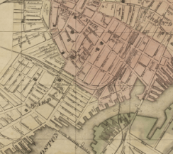 This map from 1846 illustrates the prominence of the New York Streets in Boston's emerging commercial enterprises. A few blocks north stood the railroad depot. To the south, the Fort Point channel appears to have played a more prominent role in the city's commerce because of its many wharfs. In addition, it travelled a further distance west into Boston, connecting to more neighborhoods. Compare this map with the channel's terminus in the 2015 Google Map.
