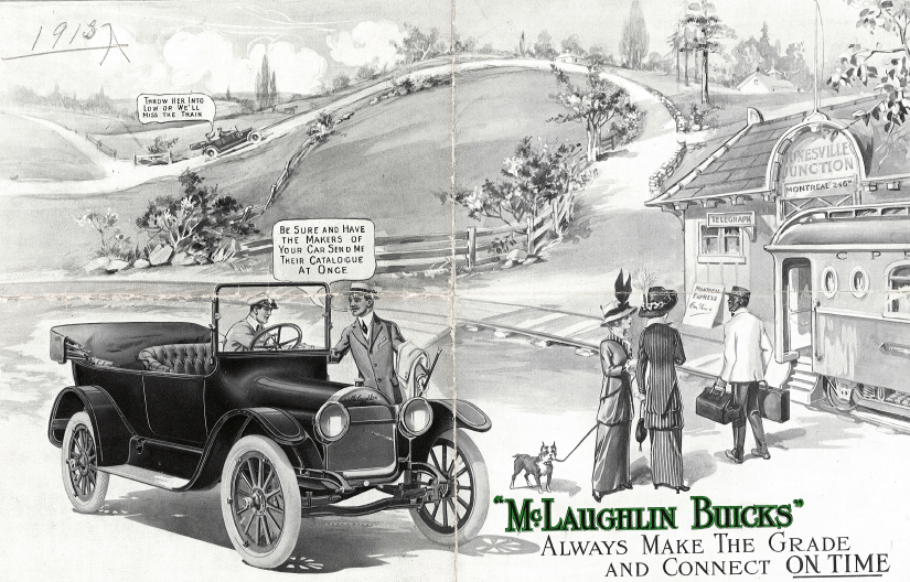Space, time, technology, race, class, and gender intersect in this advertisement to reveal upper class ideas about leisure, travel, and the benefits and limits of early automobility. McLaughlin Buick advertisement, McLaughlin Motor Car Co., Parkwood Estate , 2005 1618, 1915.