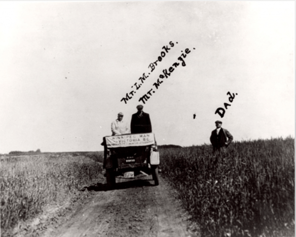 """Claiming space for automobility and the McLaughlin Buick in western Canada. """"First Auto Trip Across the Prairies,"""" The Thomas Bouckley Collection, Robert McLaughlin Gallery, 719 0671, 1911."""