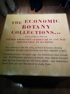 Plaque Describing the Economic Botany Collection, Kew