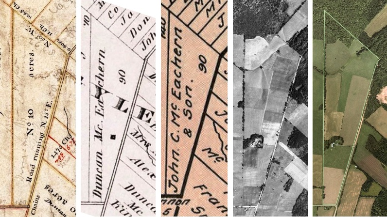MacEachern farm 1841, 1880, 1928, 1935, 2010. Sources: Maps for 1841, 1880, and 1928, see islandimagined.ca. Photos for 1935 and 2010, see www.gov.pe.ca/aerialsurvey/.