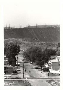 A view of the slag storage area, from Gutcher Street in Gatchell, ca. 1970. Anonymous local photographer.