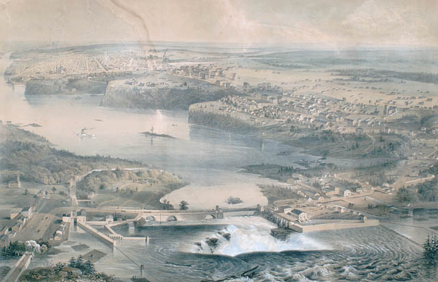 """A view of Ottawa, some of Hull and of the Ottawa River circa 1859, including views of the Chaudière Falls and of Parliament Hill (formerly Barrack Hill) prior to the construction of the Parliament Buildings.""  ca.1859, by Stent and Laver, Library and Archives Canada,C-002812."