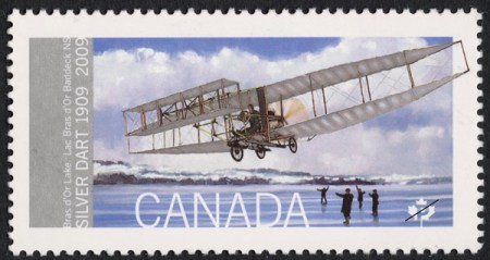 """Centennial """"First Flight"""" stamp by Canada Post, 2009. Source: Canada Post."""