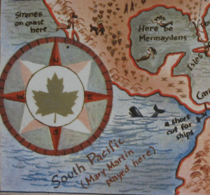 "Map detail showing the compass rose, the Panama Canal, and the popular show ""South Pacific."""