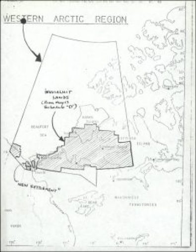 A map of the proposed Inuvialuit Settlement Region, with both Inuvialuit-owned lands and Crown lands, July 1976. In their attention to lands, ownership, and management, modern treaties create new relationships between people and the environment and reshape the political territory of Canada. © Government of Canada. Reproduced with the permission of Library and Archives Canada (2016). Source: Library and Archives Canada/Alastair Gillespie fonds/Vol.2 file 243-15.