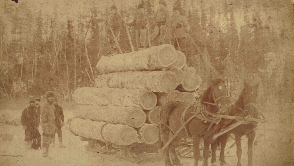 Loggers in the Rainy River District. Photo taken in the 1890s. (Courtesy of the Fort Frances Museum & Cultural Centre, Fort Frances, Ontario)