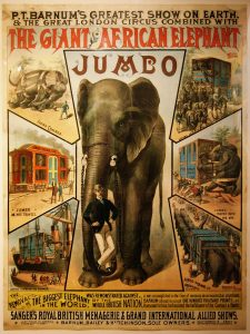 Jumbo and his keeper Matthew Scott (Circus poster, ca. 1882)