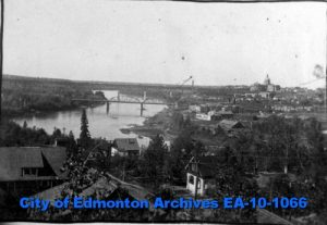 The industrialized river valley, early 20th century, Edmonton. Source: City of Edmonton Archives, EA-24-4