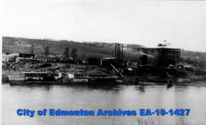 Industry along the river bank, early 20th century, Edmonton. Source: City of Edmonton Archives, EA-10-1427