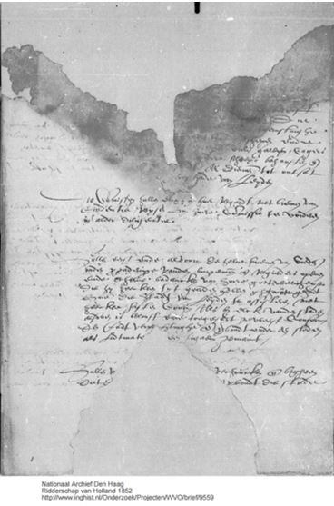 Image of a partially destroyed letter by William of Orange directing the supplies and logistics for the relief of Leiden. Source: The Correspondence of William of Orange 1549-1584.