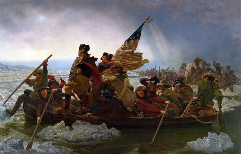 Painting of Washington standing in a boat with people paddling through icy water