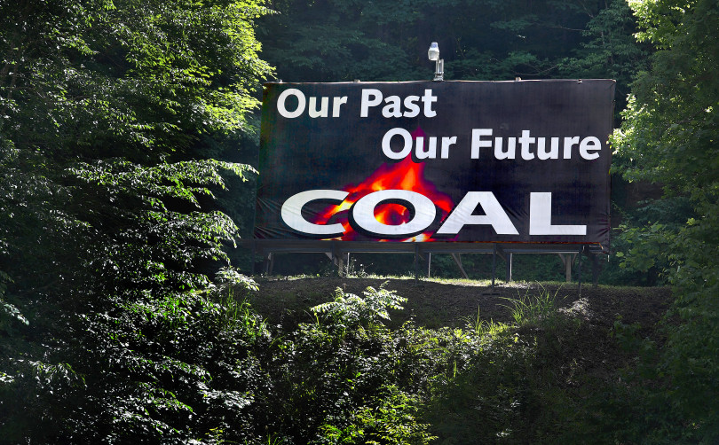 "Sign reading ""Our Past, Our Future, COAL"""