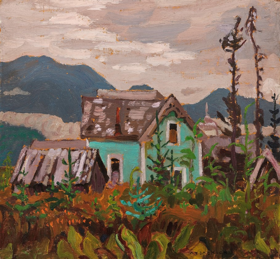 Indian Home, Port Essington B.C. 1926, painting by A.Y. Jackson. Painting of turquoise house in mountain setting.