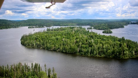 An aerial view of Gus Island in northern Saskatchewan, which is named after A.H. MacDonald
